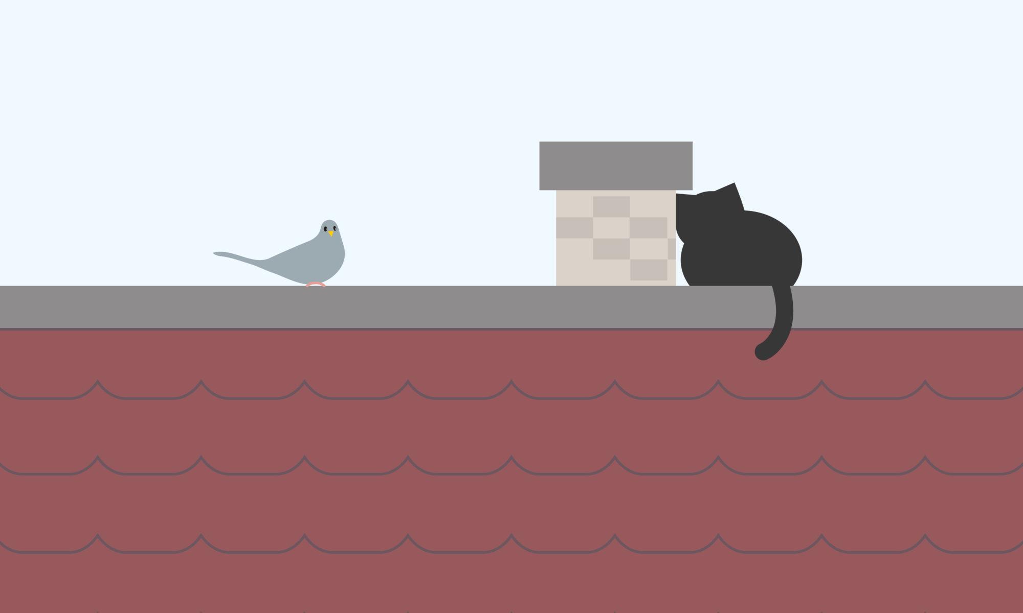 屋根にネコ