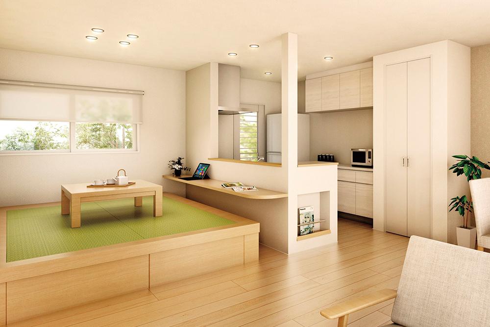 キッチンの腰壁にカウンターを設置するイメージ