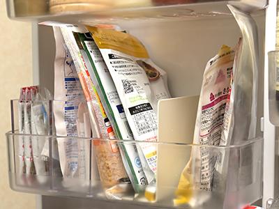 「ざっくり」タイプの冷蔵庫ドアポケット中段の収納イメージ