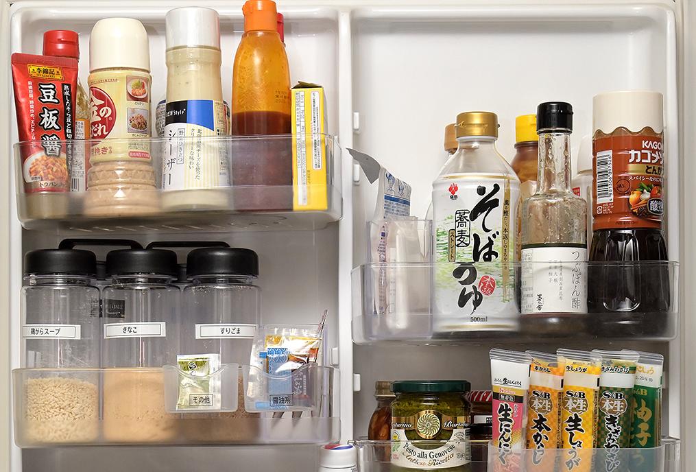 「きっちり」タイプの冷蔵庫ドアポケット上段の収納イメージ